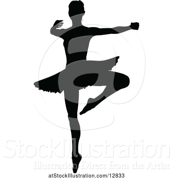 Vector Illustration of Black Silhouetted Ballerina Dancing