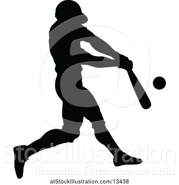 Vector Illustration of Black Silhouetted Baseball Player Batting