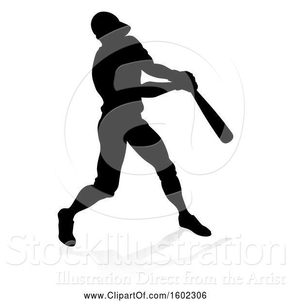 Vector Illustration of Black Silhouetted Baseball Player Batting, with a Reflection on a White Background