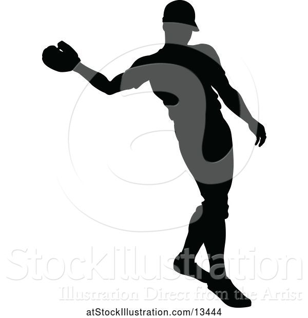 Vector Illustration of Black Silhouetted Baseball Player
