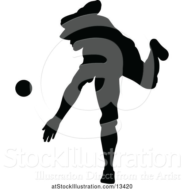 Vector Illustration of Black Silhouetted Baseball Player Pitching