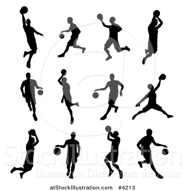 Vector Illustration of Black Silhouetted Basketball Players