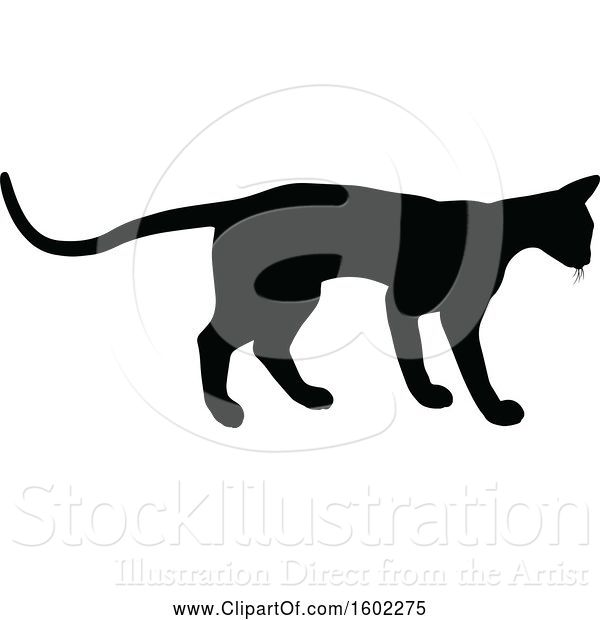 Vector Illustration of Black Silhouetted Cat