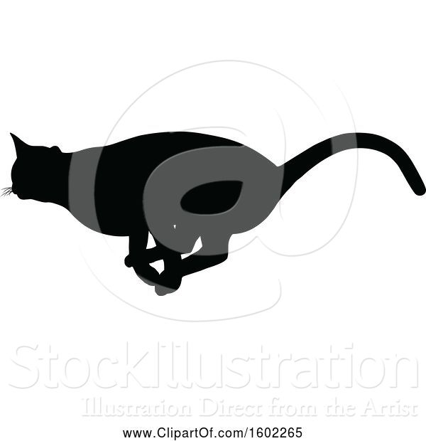 Vector Illustration of Black Silhouetted Cat Running