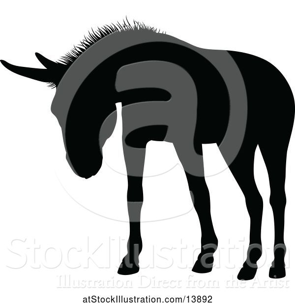 Vector Illustration of Black Silhouetted Donkey