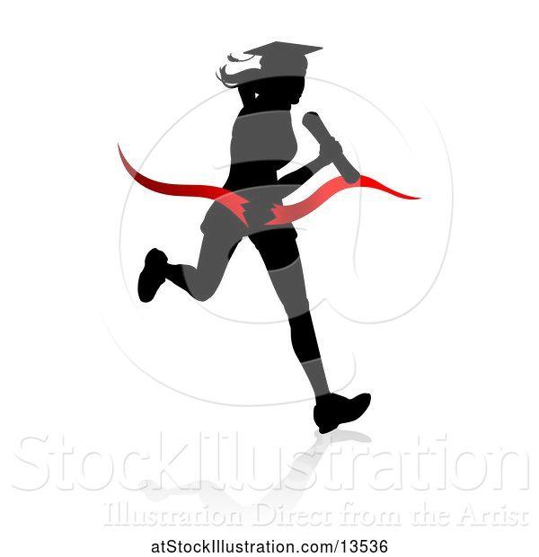 Vector Illustration of Black Silhouetted Female Graduate Running a Race, with a Shadow, Breaking Through a Red Finish Line Ribbon
