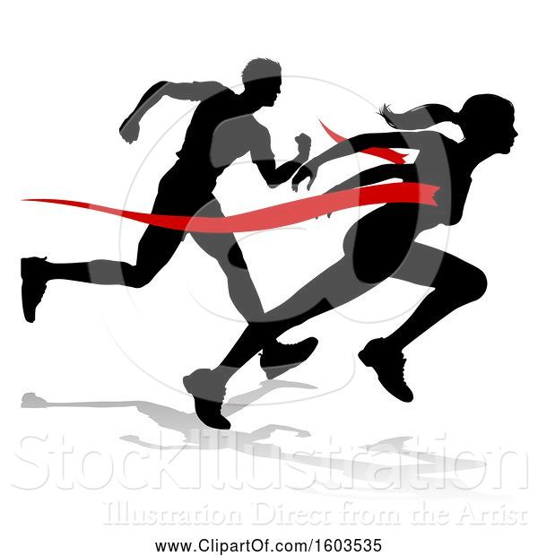 Vector Illustration of Black Silhouetted Female Runner Breaking Through a Red Finish Line and Competing with a Guy, with a Shadow