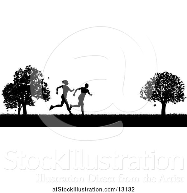 Vector Illustration of Black Silhouetted Fit Couple Running in a Park