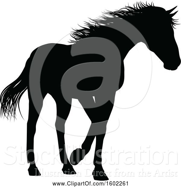 Vector Illustration of Black Silhouetted Horse