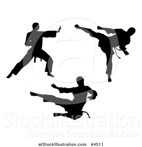 Vector Illustration of Black Silhouetted Karate and Martial Arts Men