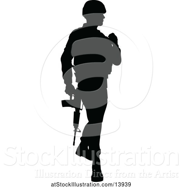 Vector Illustration of Black Silhouetted Male Armed Soldier
