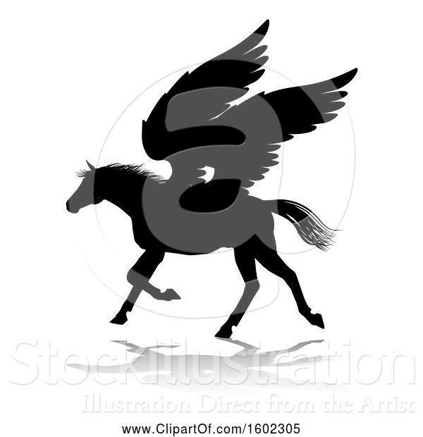 Vector Illustration of Black Silhouetted Pegasus Horse, with a Reflection or Shadow, on a White Background