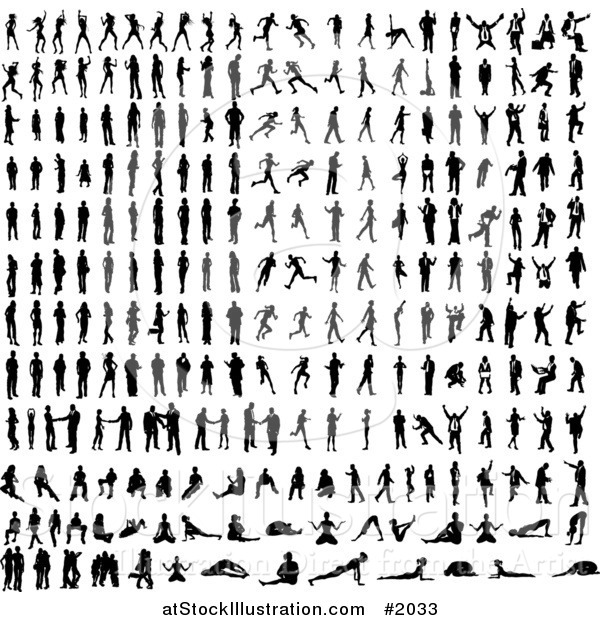 Vector Illustration of Black Silhouetted People