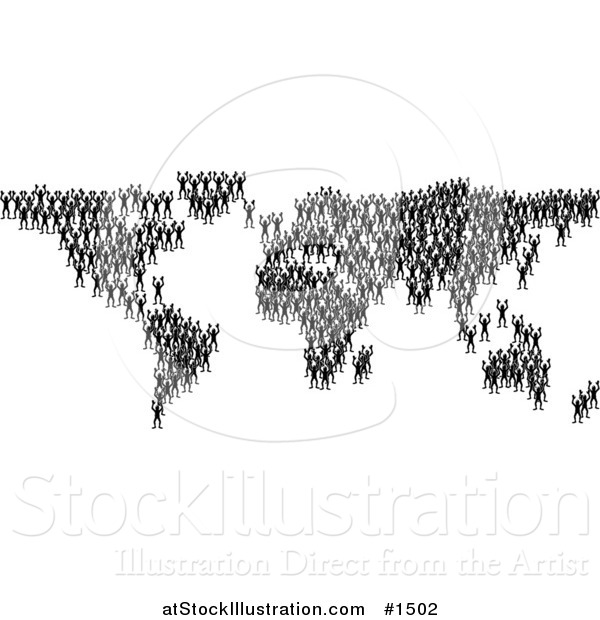 Vector Illustration of Black Silhouetted People Crowding Together and Forming the Global Continents