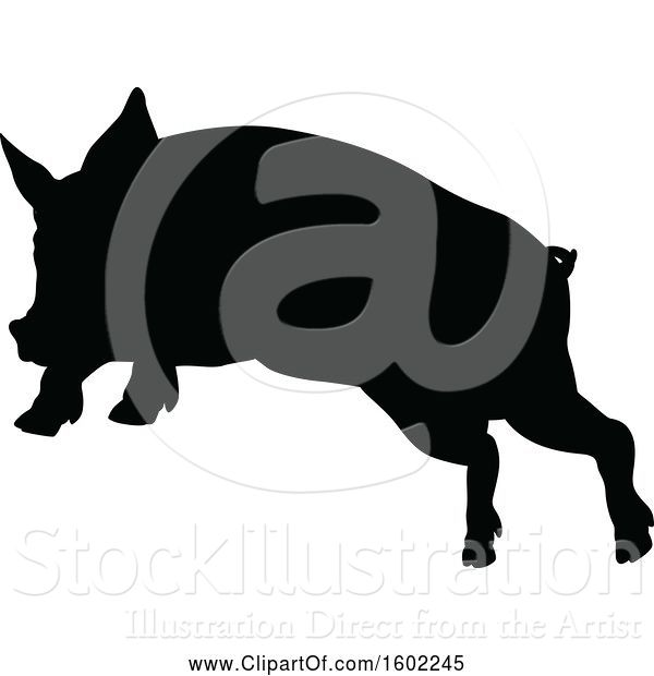 Vector Illustration of Black Silhouetted Pig