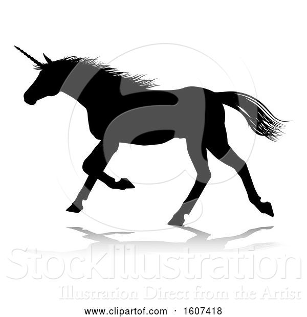 Vector Illustration of Black Silhouetted Unicorn Horse, with a Reflection or Shadow, on a White Background
