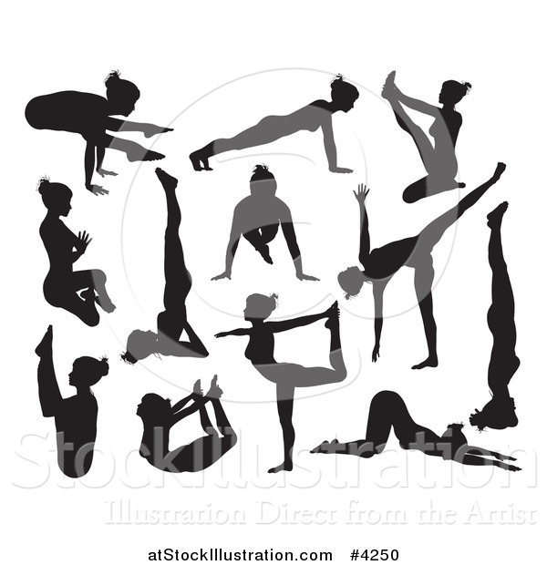 Vector Illustration of Black Silhouetted Women Doing Yoga Poses
