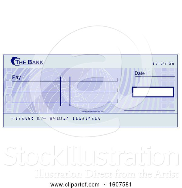 Vector Illustration of Blank Blue Bank Check