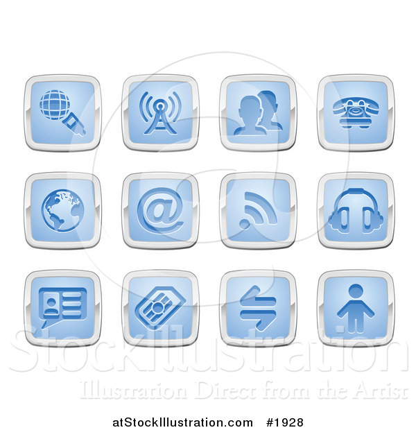 Vector Illustration of Blue and Silver Communication Icons