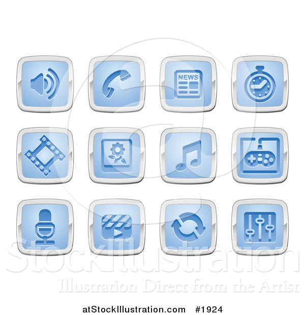 Vector Illustration of Blue and Silver Media Icons