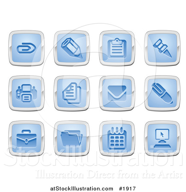 Vector Illustration of Blue and Silver Square Business and Office Icons
