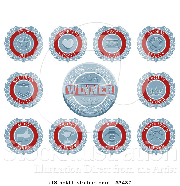 Vector Illustration of Blue and White Retro Award Badges or Medallions