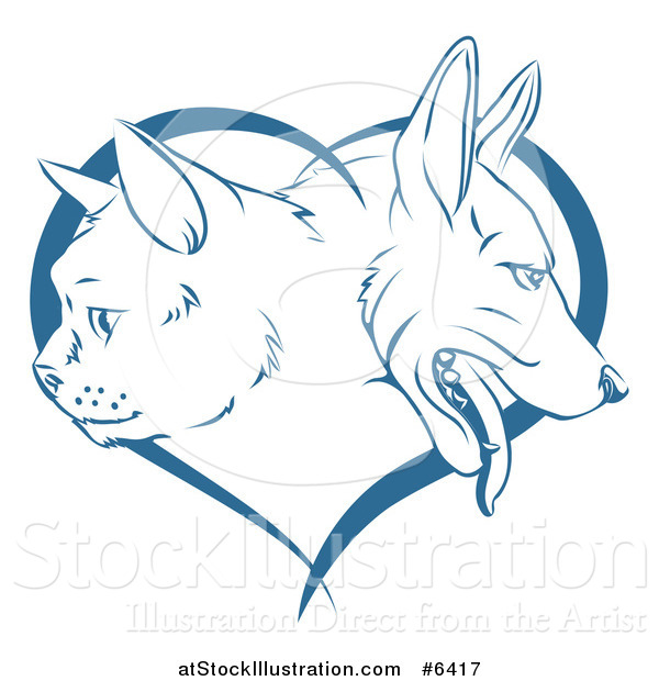 Vector Illustration of Blue Cat and Dog Faces in Profile over a Heart