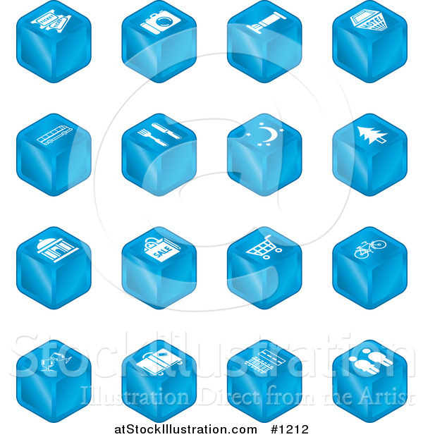 Vector Illustration of Blue Cube Icons: Tickets, Camera, Bed, Hotel, Bus, Restaurant, Moon, Tree, Building, Shopping Bags, Shopping Cart, Bike, Wine Glasses, Luggage, Train Tracks, Road, and Restrooms