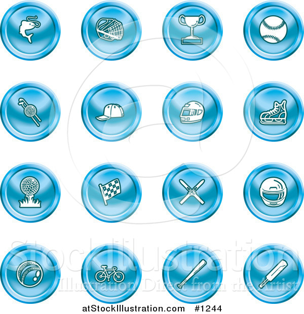 Vector Illustration of Blue Fishing, Hockey, Trophy, Baseball, Golfing, Racing, Ice Skating, Skiing, Cricket, and Cycling Sports Icons