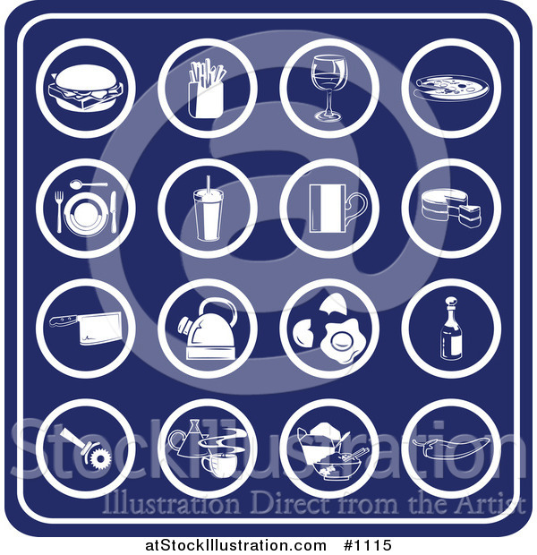 Vector Illustration of Blue Food Icons Including a Hamburger, French Fries, Wine, Pizza, Table Setting, Milkshake, Coffee, Cake, Knife, Teapot, Eggs, Oil, Pizza Cutter, Chinese Takeout and Peppers
