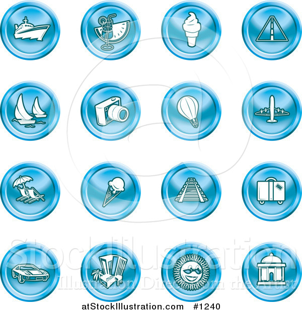 Vector Illustration of Blue Icons