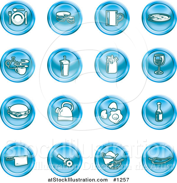 Vector Illustration of Blue Icons: Food and Kitchen Items