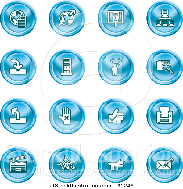 Vector Illustration of Blue Icons: Www, Connectivity, Networking, Upload, Downloads, Computers, Messenger, Printing, Clapperboard and Email