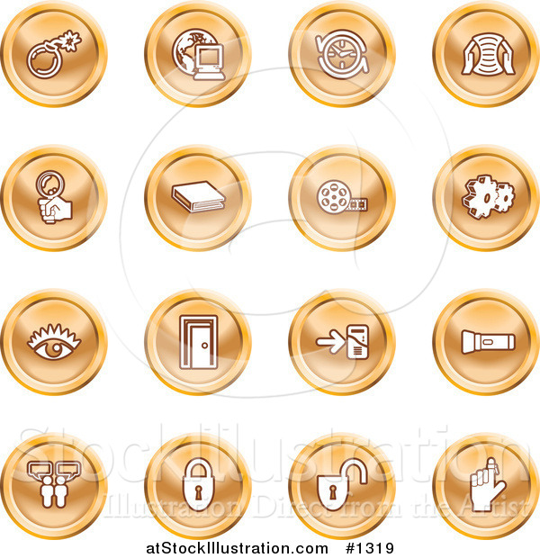 Vector Illustration of Bomb, Computer, Letter, Magnifying Glass, Book, Film, Cogs, Eye, Door, Flashlight, Messenger, Padlocks and Reminder