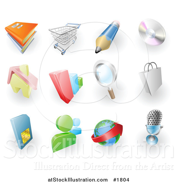 Vector Illustration of Books, Shopping Cart, Pencil, Cd, Home, Bar Graph, Search, Shopping Bag, Sms Card, Chat, Email and Microphone Web Browser Icons