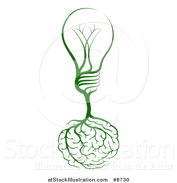 Vector Illustration of Brain Roots with a Green Light Bulb
