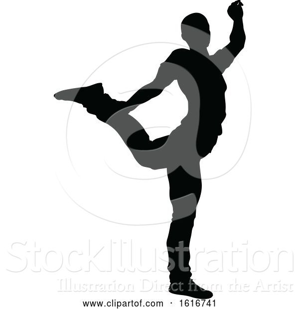 Vector Illustration of Break Dancer Silhouette
