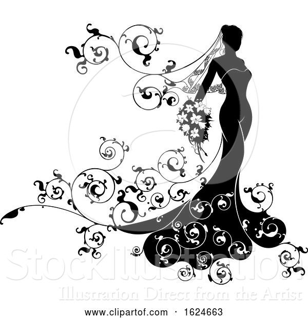 Vector Illustration of Bride Abstract Wedding Silhouette Design