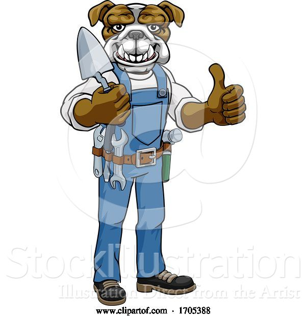 Vector Illustration of Bulldog Bricklayer Builder Holding Trowel Tool