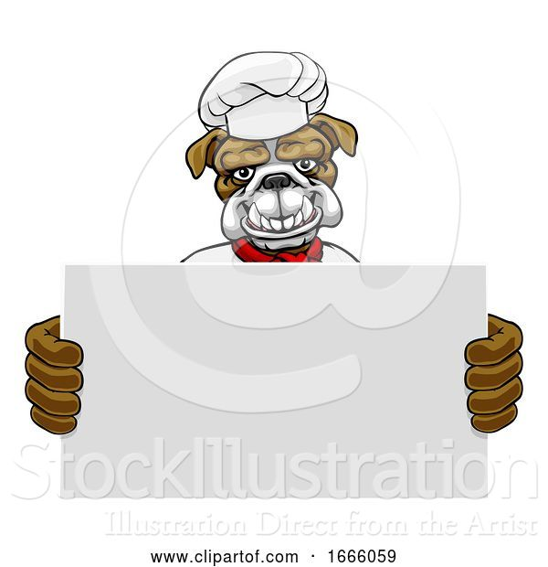 Vector Illustration of Bulldog Chef Restaurant Mascot Sign