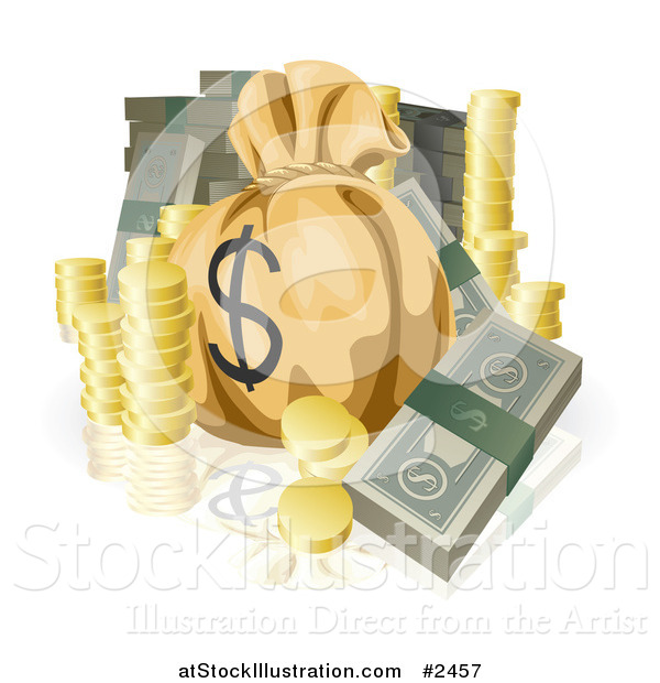 Vector Illustration of Bundled Cash Stacked Coins and a Money Sack