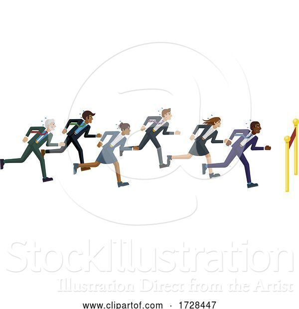 Vector Illustration of Business People Running Race Finish Line Concept