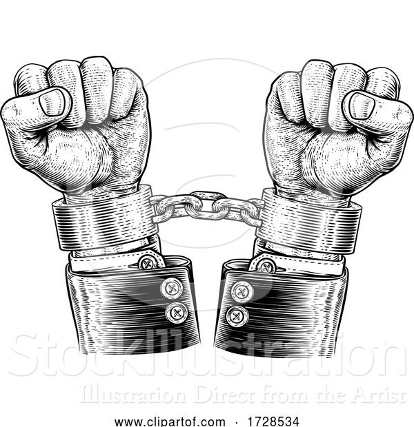 Vector Illustration of Business Suit Hands Chained Vintage Style Concept