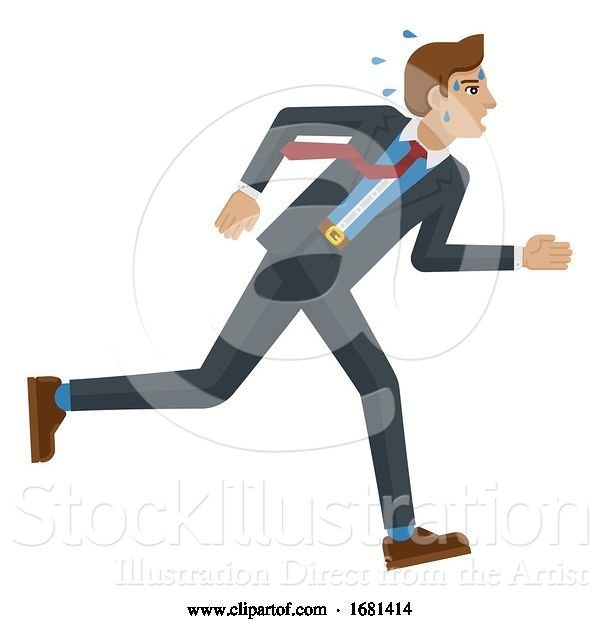 Vector Illustration of Businessman Stress Pressure Tired Running Concept