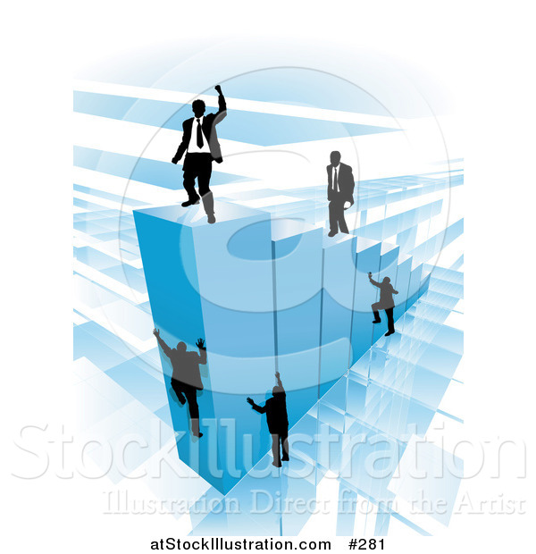 Vector Illustration of Businessmen Climbing Blue Bars to Reach the Top Where a Proud Business Man Stands