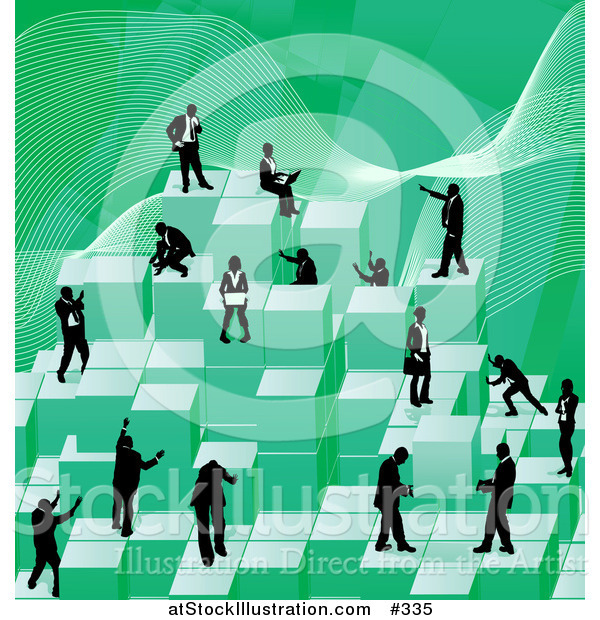 Vector Illustration of Businessmen Working Together As a Team to Stack Green Building Blocks of Success