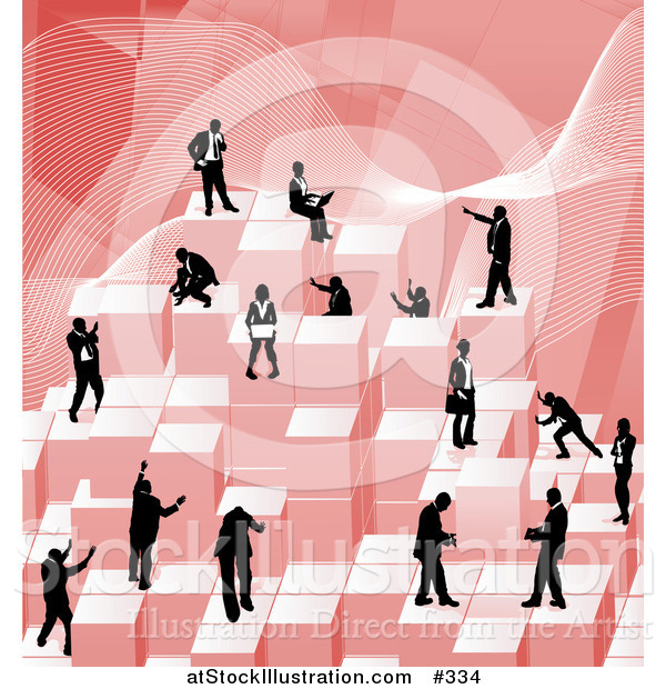 Vector Illustration of Businessmen Working Together As a Team to Stack Red Building Blocks of Success