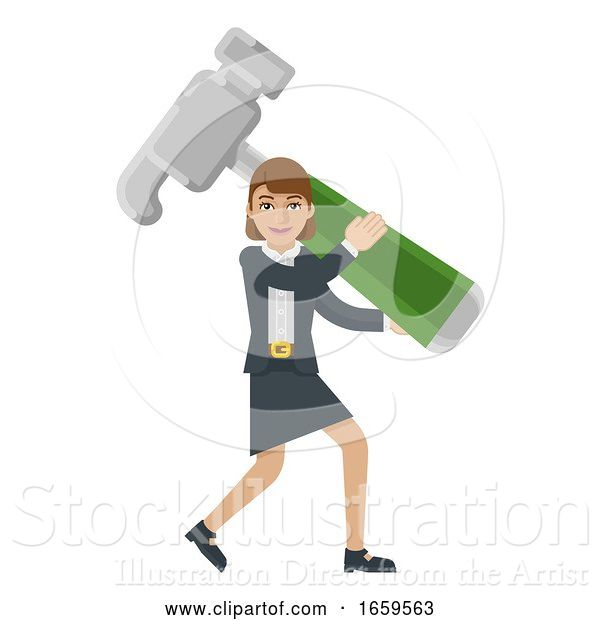Vector Illustration of Businesswoman Holding Hammer Mascot Concept