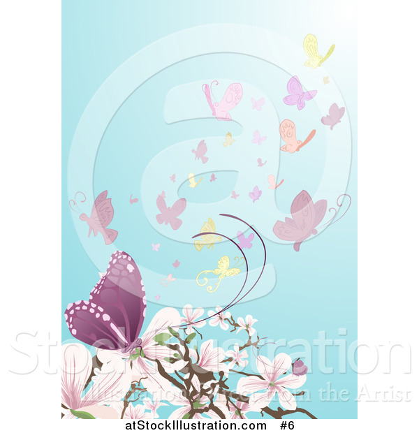 Vector Illustration of Butterflies near Pink and White Magnolia Blossoms