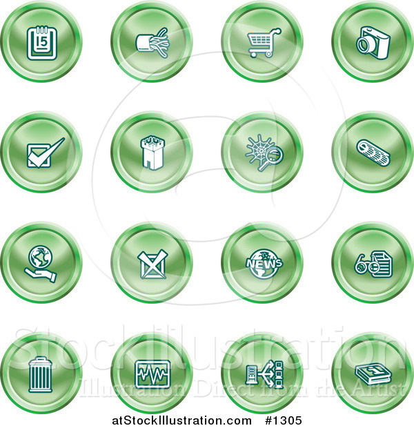Vector Illustration of Calendar, Cables, Shopping Cart, Camera, Check Mark, Fortress, News, Trash Can, Chart, Networking and Information